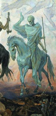 Le quatrième cavalier de l'Apocalypse a comme nom la mort, elle chevauche un cheval de couleur verdâtre blême, ou pâle. Il représente la mort par l'épée (la guerre), la maladie, les épidémies, la dictature (les bêtes sauvages).
