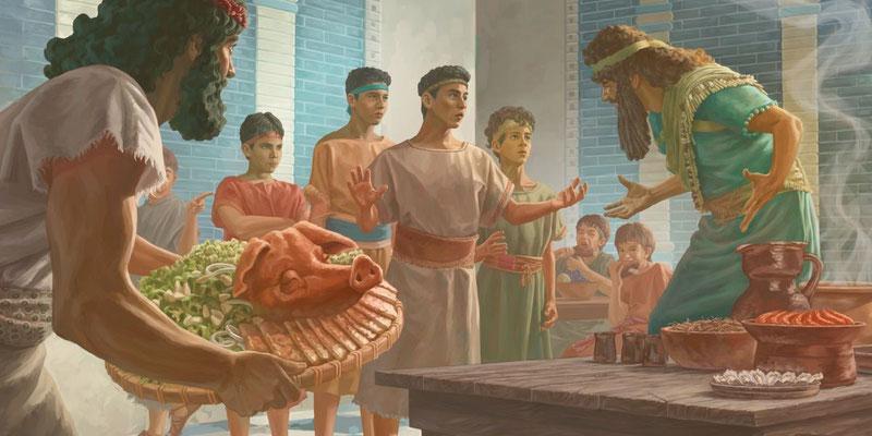 Les jeunes Hébreux Daniel, Hanania, Mishaël et Azaria démontreront leur fidélité à Dieu en refusant les mets servis à la table royale et en refusant de se prosterner devant une statue du roi du roi Nébucadnetsar.