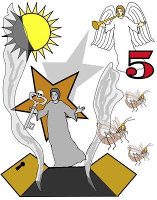 Dans les deux cas (5ème trompette et 5ème coupe de la colère divine), il s'est produit un obscurcissement de l'atmosphère, le monde s'est retrouve plongé dans les ténèbres spirituelles. Et, dans les deux cas, les hommes opposés à Dieu ont été tourmentés.