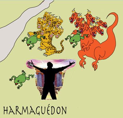 Ce sont des esprits de démons qui accomplissent des signes miraculeux et qui vont vers les rois de toute la terre pour les rassembler pour la bataille de ce grand jour du Dieu tout-puissant. Ils les rassemblèrent à l'endroit appelé en hébreu Harmaguédon.
