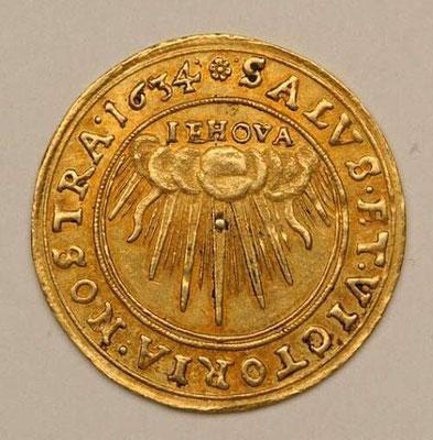 Pièce de monnaie datant de 1634 avec le Tétragramme du Nom divin, Iehovah