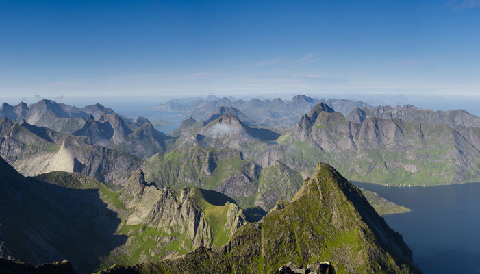 Summit views from Hermannsdalstinden in the Lofoten islands, Norway.