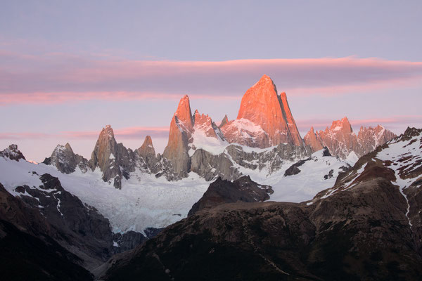 Mount Fitzroy glowing at sunrise in the Los Glaciares national park,  Argentina.