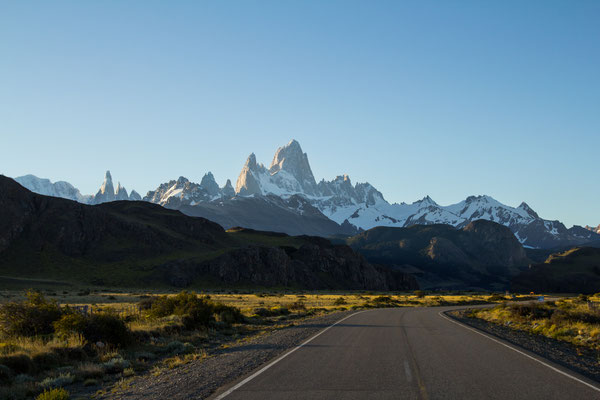 Mount Fitzroy seen from one of the most famous viewpoints in Patagonia, the road leading to El Chalten.