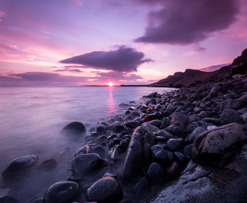 Sunrise along the coastline of Staffin, Isle of Skye.