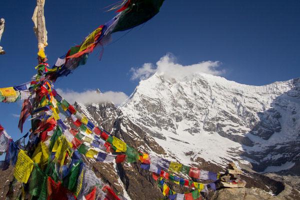 Langtang Lirung (7227m) provides an imposing figure above the Langtang national park, northern Nepal.