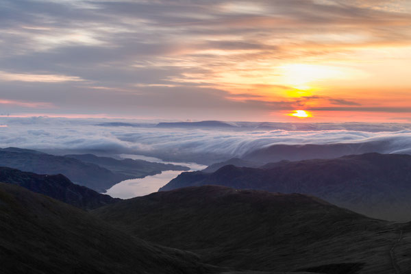 Ullswater captured at dawn from the summit of Helvellyn in the English Lake District.