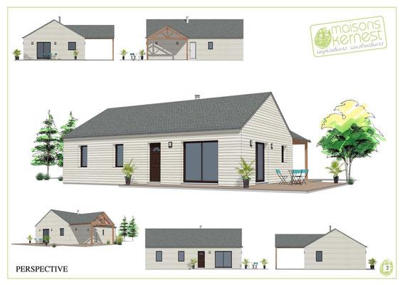 Plan original et agréable maison à ossature bois avec un car-port (préau pour garer votre voiture
