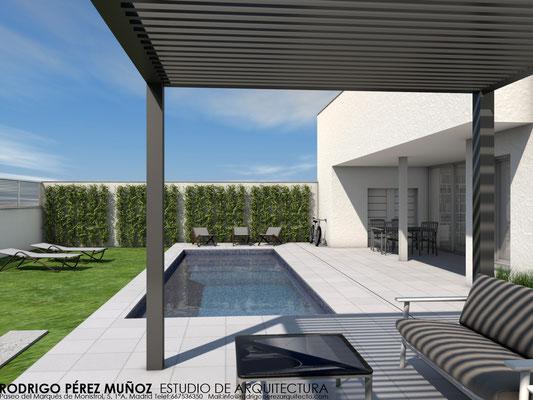 Proyecto de vivienda unifamiliar y piscina. Rodrigo Perez Muñoz Arquitecto.