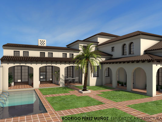 Proyecto de vivienda y piscina en Toledo. Rodrigo Perez Muñoz Arquitecto.