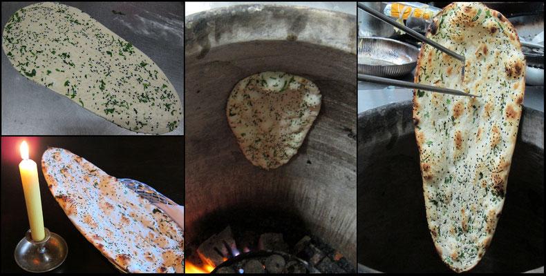 Naan - Tandoorofen Brot gebacken