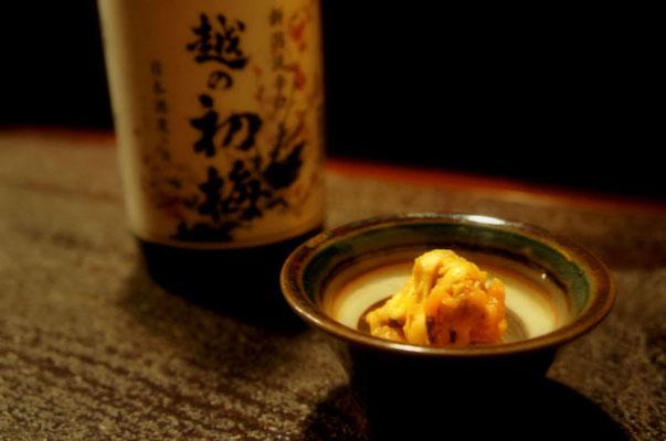 海鞘と柑橘類の酒肴