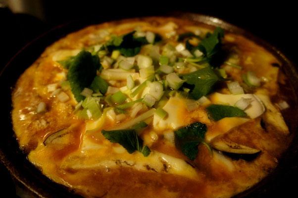 真鱈の子とチーズを使った陶板焼き