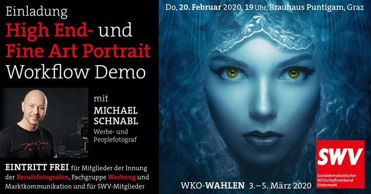 Fine-Art-Portrait-Demo des SWV am 20. Februar 2020 im Brauhaus Puntigam mit Foto-Profi Michael Schnabl