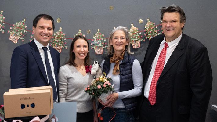 Besuch bei Tausendschön: Christine Beikircher mit LH-Stv. Michael Schickhofer und SWV-Präsident Karlheinz Winkler. Foto: Michael Schnabl