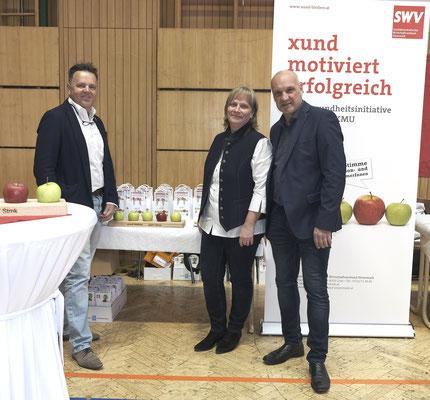 SWV-Stand beim SPÖ Regionaltreffen Südweststeiermark mit SWV-Geschäftsführer Ernst Lenz, Sabine Edler und Gottfried Edler