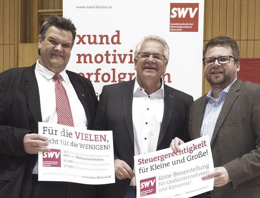 SWV-Präsident Karlheinz Winkler, SPÖ-Landesgeschäftsführer Günter Pirker, Klubobmann LAbg. Hannes Schwarz