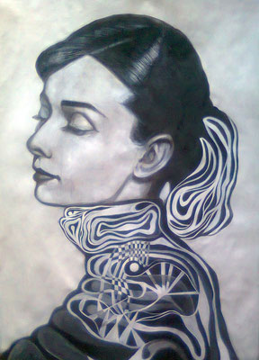 «Audrey Hepburn» acrílico sobre papel - 70 x 50 cm - 2013