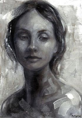 «Phryne» acrílico y tinta china sobre lienzo - 28 x 20 cm - 2016