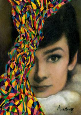 «Audrey Hepburn» acrílico sobre lienzo - 42 x 30 cm - 2014