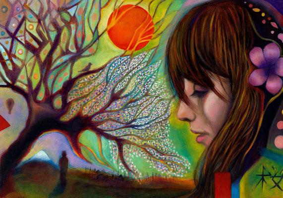«La Flor de los Cerezos» óleo sobre papel - 40 x 50 cm - 2014