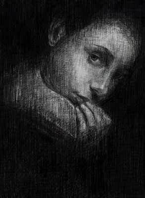 «El Sabor del Miedo» lápiz y carbonilla sobre papel - 40 x 30 cm - 2015