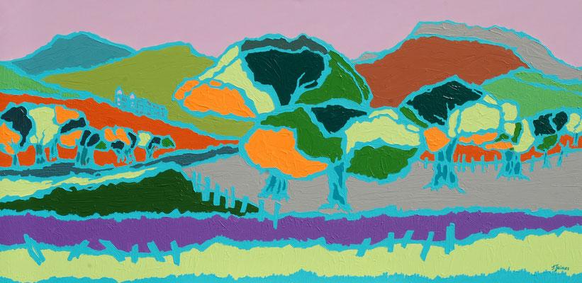 Streuobstwiese, 70 x 140 cm, Acryl auf Leinwand