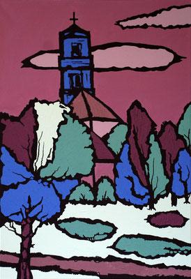 Überm Wiesengrund, 130 x 90 cm, Acryl auf Leinwand, Blick auf Fürth