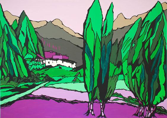 Kulisse Berg, 100 x 140 cm, Acryl auf Leinwand