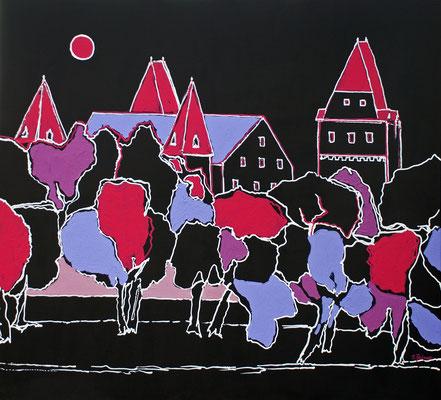 Pink Moon, 110 x 120 cm, Acryl auf Leinwand, Blick vom Donauufer auf Ingolstadt