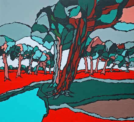 Strassenbäume, 110 x 120 cm, Acryl auf Leinwand