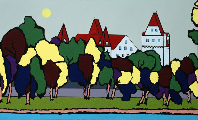 Am Donauufer, 80 x 130 cm, Acryl auf Leinwand, Blick auf Ingolstadt