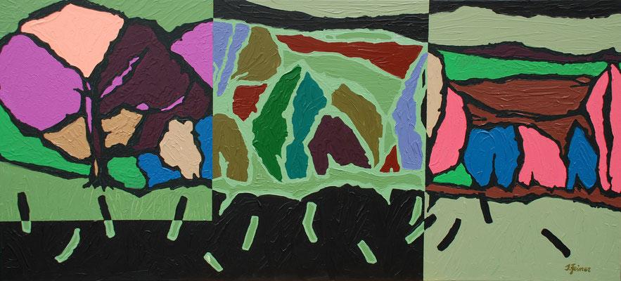 Land im Mosaik,60 x 130 cm, Acryl auf Leinwand