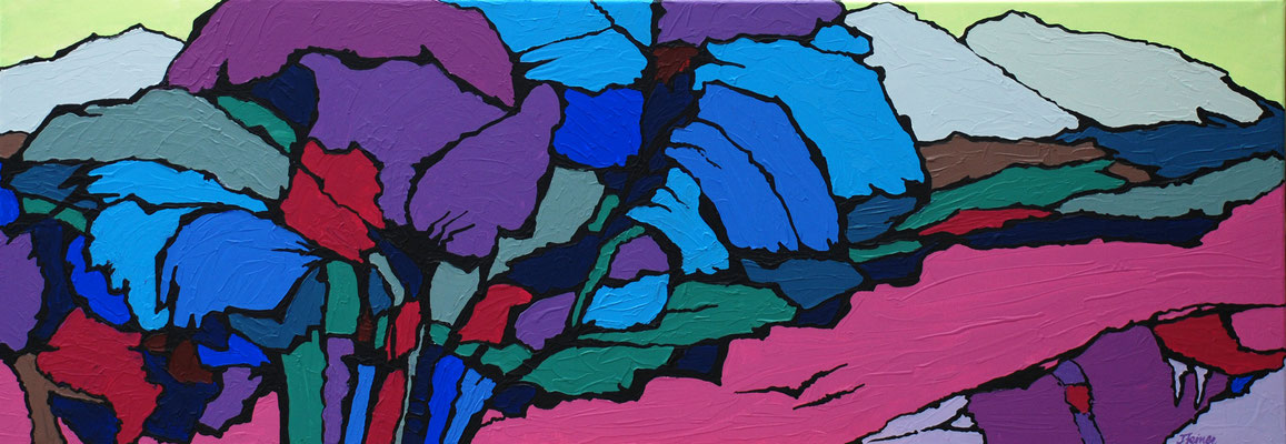 Pink Field, 50 x 140 cm , Acryl auf Leinwand