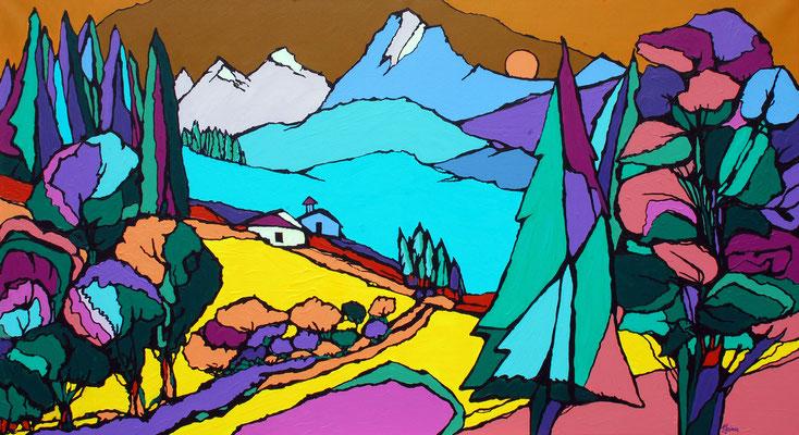 Brise Alpin, 100 x 160 cm, Acryl auf Leinwand