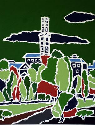 Fürth grünt, 130 x 100 cm, Acryl auf Leinwand, Blick aufs Fürther Rathaus