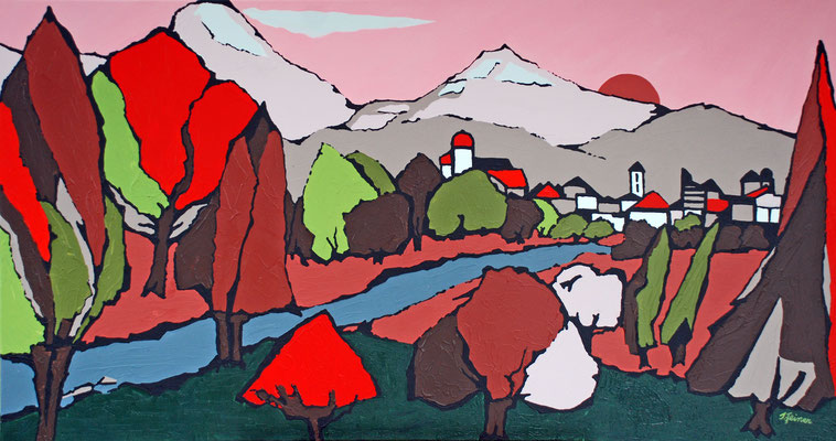 Abendsonne, 70 x 130 cm, Acryl auf Leinwand