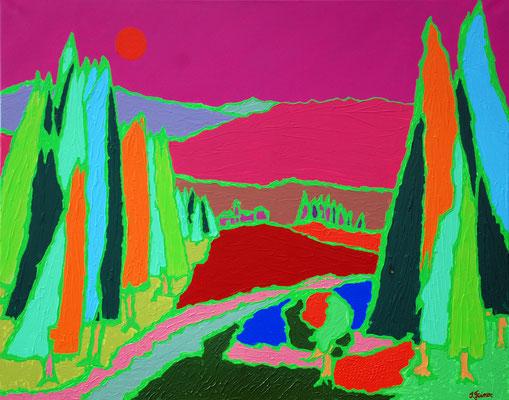 Rote Sonne, 80 x 100 cm, Acryl auf Leinwand