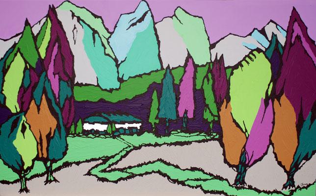 Gipfelblick, 80 x 130 cm, Acryl auf Leinwand