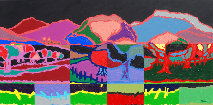 Streuobstwiese im Mosaik, 70 x 140 cm, Acryl auf Leinwand