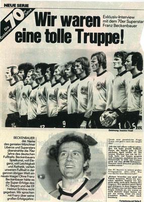 Zeitungsartikel zur Fussball WM 74
