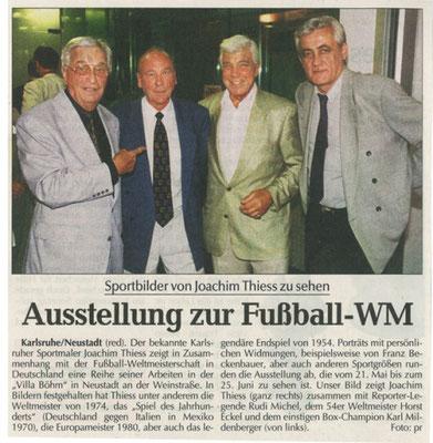Ausstellung zur Fussball-WM, Joachim Thiess und Fritz Walter unter den Gästen