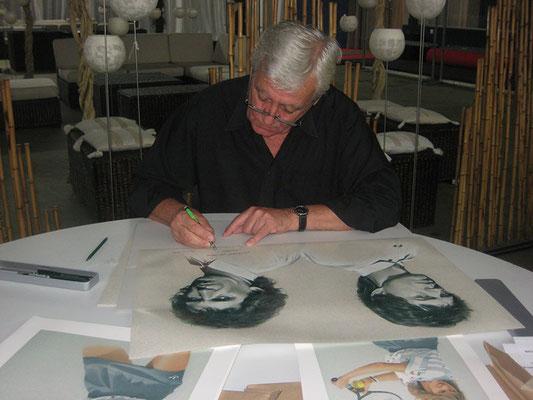 signieren von Mick Jagger und Keith Richards Portrait