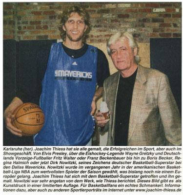 Pressemitteilung bezüglich dem Portrait von Dirk Nowitzki