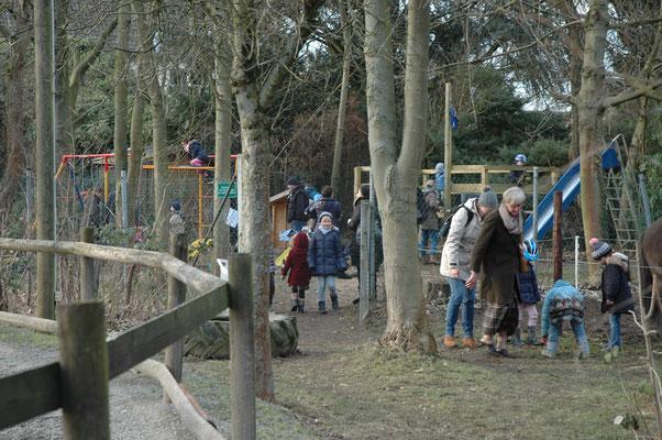 Großer Beliebtheit erfreute sich auch der kleine Spielplatz im Schatten der Bäume am Rande der Ovalbahn, mit bestem Blick auf die vorbeiziehenden Pferde.
