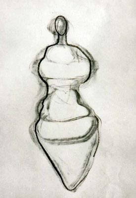 Michelline, , ca. 20/30 cm, Kohle auf Papier
