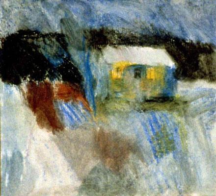 Winterhaus, 20/15 cm, Mischtechnik auf Papier
