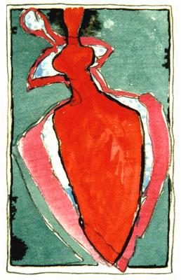 Häutung, 10/17 cm, Mischtechnik auf Papier