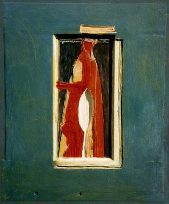 Frau (rot), 36/44 cm, Eitempera auf Holz