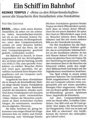 """Basellandschaftliche Zeitung, """"Ein Schiff im Bahnhof"""", Urs Grethner"""